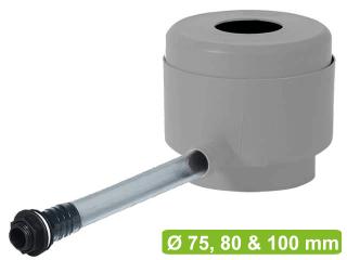 Collecteur d'eau Garantia gris complet avec raccordement pour récupérateur d'eau et tuyau.