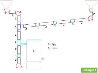 Kit de raccordement tuyaux pour un toit a deux versants, permettant de relier deux naissances de gouttières vers un récupérateur d'eau positionné sur un côté (toit en porte à faux, par exemple).