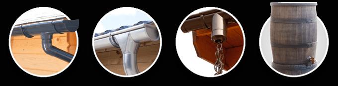 Gouttière PVC | Gouttière Zink | Chaîne de pluie | Récupérateurs d'eau